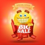 Rood lint met de gele kaart van het de verkoopconcept van het glimlachgezicht grote Stock Foto