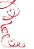 Rood lint met hart Stock Afbeeldingen