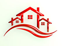 Rood Logo Houses met golven Stock Afbeelding