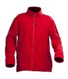 Rood mannelijk vachtjasje dat over wit wordt geïsoleerdk Stock Foto