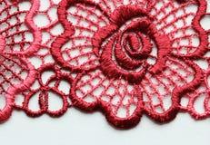 Rood materieel de textuur macroschot van het bloemenkant Stock Afbeeldingen