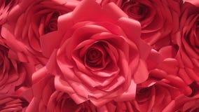 Rood met de hand gemaakt het document van het rozenpatroon gebruik voor achtergrondtextuur, valentijnskaartdag Royalty-vrije Stock Afbeelding