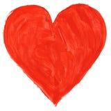 Rood met de hand geschilderd hart Royalty-vrije Stock Afbeelding