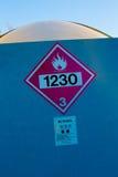 Rood methanolteken Stock Foto