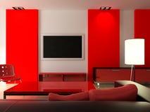 Rood modern binnenland Royalty-vrije Stock Afbeelding