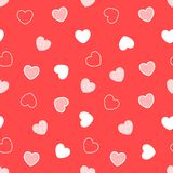 Rood naadloos hartenpatroon Royalty-vrije Stock Afbeeldingen