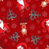 Rood naadloos Kerstmispatroon 1. Royalty-vrije Stock Afbeeldingen