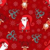 Rood naadloos Kerstmispatroon 2. Stock Fotografie