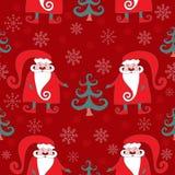 Rood naadloos Kerstmispatroon 4 Royalty-vrije Stock Afbeeldingen