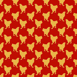 Rood Naadloos Patroon met het Gele Thema van het Hanen Chinese Nieuwjaar Royalty-vrije Stock Foto's
