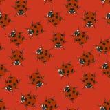 Rood naadloos patroon met lieveheersbeestjes Vector illustratie stock illustratie