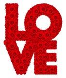 Rood nam bloem in geïsoleerde die woordliefde wordt geplaatst toe Stock Afbeeldingen
