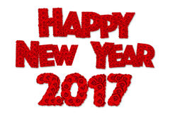 Rood nam bloem in woord Gelukkig Nieuwjaar wordt geplaatst 2017 die toe Stock Fotografie