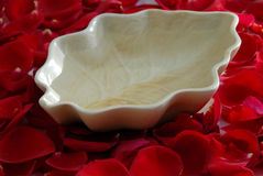 Rood nam flower petals aromatherapy spa toe stock foto's
