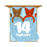 Rood nam toe Katten in bed De leuke liefde van de kattenslaap Minnaar holid Royalty-vrije Stock Fotografie