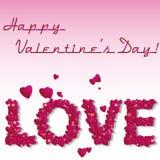 Rood nam toe Vat document harten samen Liefde De achtergrond van de valentijnskaart met harten Royalty-vrije Stock Foto
