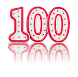 Rood nummer 100 Royalty-vrije Stock Foto's