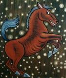 Rood ongebreideld paard Stock Foto's
