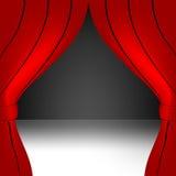 Rood open gordijn stock illustratie
