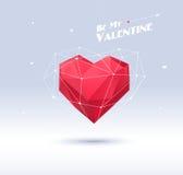 Rood origamihart op witte achtergrond met schaduw Royalty-vrije Stock Afbeeldingen