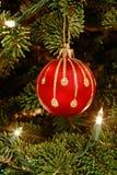 Rood ornament in Kerstboom royalty-vrije stock foto