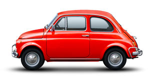Rood oud Fiat 500 Stock Afbeelding