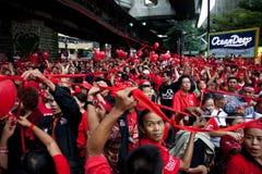 Rood overhemdenprotest in Bangkok Stock Fotografie