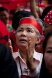 Rood overhemdenprotest in Bangkok Stock Foto's