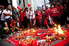 Rood overhemdenprotest in Bangkok Royalty-vrije Stock Fotografie
