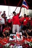 Rood overhemdenprotest in Bangkok Royalty-vrije Stock Foto's