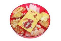 Rood Pakket en de Chinese Delicatessen van het Nieuwjaar Stock Afbeelding