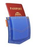 Rood paspoort in achterzak Royalty-vrije Stock Afbeelding
