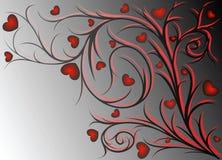Rood patroon met harten Stock Foto