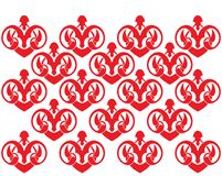 Rood patroon op de muur Stock Afbeelding