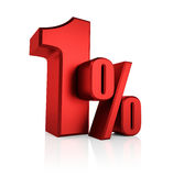 Rood 1 Percent Stock Foto