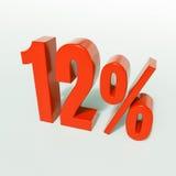 12 rood Percententeken Stock Afbeelding