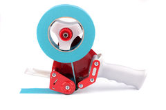Rood pistool voor een donkerblauwe plakband Stock Afbeelding
