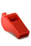 Rood plastic fluitje Stock Afbeeldingen