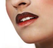 Rood polijst lippen met ombreeffect royalty-vrije stock foto
