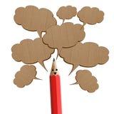 Rood potlood dat met besprekingspictogrammen zegt. Stock Afbeelding