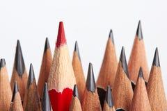 Rood potlood die van menigte duidelijk uitkomen royalty-vrije stock afbeelding