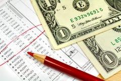Rood potlood met Amerikaanse dollarsbankbiljetten op de achtergrond van lijst van wisselkoersen Stock Fotografie