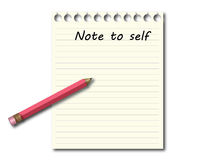 Rood potlood op memorandum, nota aan zelf Royalty-vrije Stock Afbeelding
