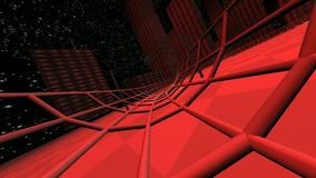 Rood ras in moderne 3d cyberspace stad