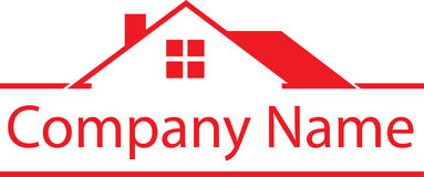 Rood Real Estate Logo House Stock Foto's
