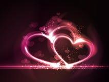 Rood roze gloeiend hartenframe Stock Afbeelding