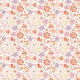 Rood-roze met geel naadloos patroon met beeldverhaalbloemen Stock Afbeelding
