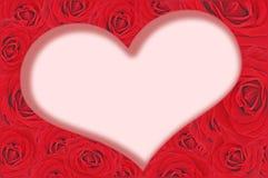 Rood rozen en hart binnen Stock Afbeelding