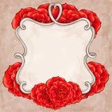 Rood rozenkader Stock Fotografie