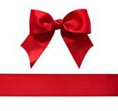 Rood satijnboog en lint Royalty-vrije Stock Fotografie